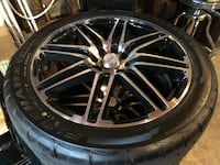 Chrome multi-spoke car wheel with tires Los Angeles, 91324