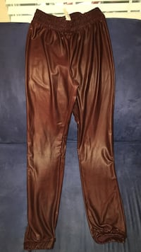 brown satin sweat pants