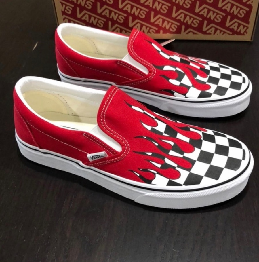 Photo Red Flame Checker Board Vans Sz 10.5