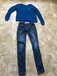 blue-washed jeans and blue Hollister sweater