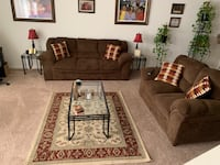 Brown fabric 3-seat sofa and loveseats coffee table end tables and rug Chester, 23831