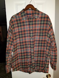 MENS CLUB ROOM ORANGE GREEN PLAID DOUBLE LINED BUTTON FRONT SHIRT EUC XXL Springfield