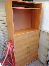 Red-ish wooden cabinet with shelves Langley, V3A 5X1