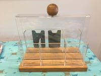 Funky lucite, wood desk caddy Chicago, 60640