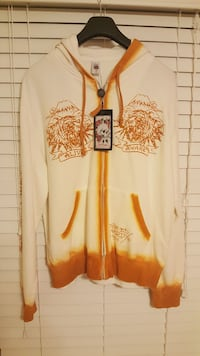 beige and orange tiger print zip-up hoodie