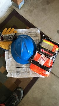 Hard hat (MSA V Gard) Class 2 Safety Vest leather gloves, glasses, ear plugs. Have six sets.