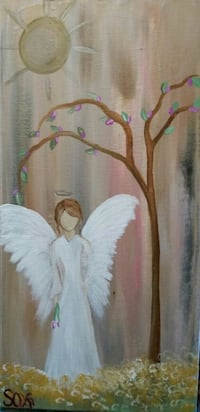 Angel painting primitive original artwork Roanoke, 24016