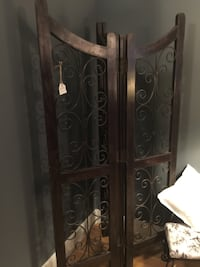 Very Heavy Dark Wood and Black Wrought Iron Four-Panel Room Divider! Gorgeous!