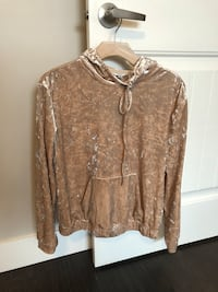 Peach velvet pullover hoodie by Guess
