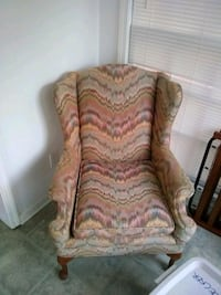 Pink and gray fabric sofa chair