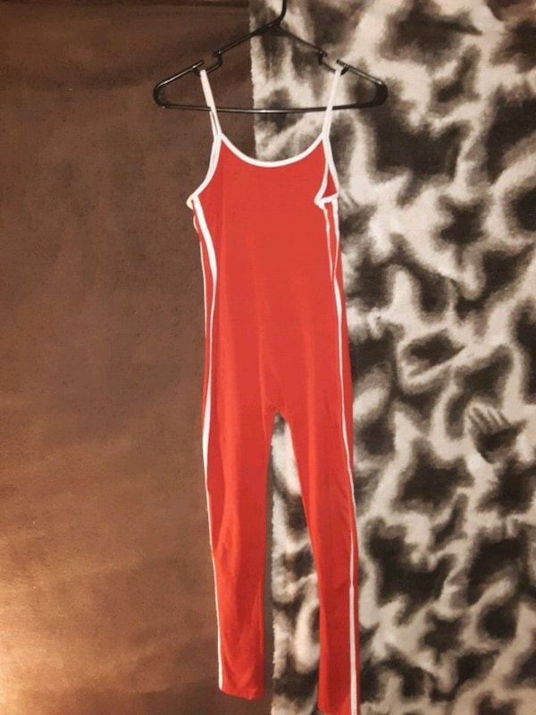 Red and white jump suit 1