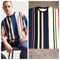 Men's Urban Outfitters tee paid $36 size Large great condition! Dad vertical strip tee. You can roll the sleeves up or down.