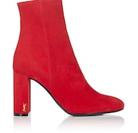 YSL Loulou red suede ankle boots Vancouver, V6M 1C7