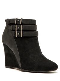 New Sophisticated Black Split Suede Wedge Ankle Boot - 8.5