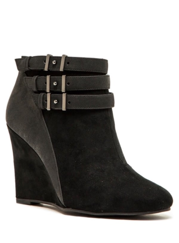 New Sophisticated Black Suede Wedge Ankle Boot - 8.5  c01bdb58-9cfa-4104-af0f-648e8e58c9ea