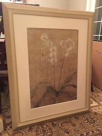 brown wooden framed painting of white flowers Innisfil, L9S