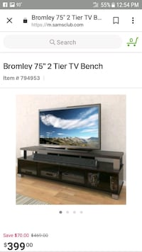 "Bromely 75"" 2 tier tv bench Crosby, 77532"