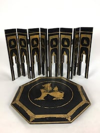 Thai Gold Painted Black Lacquer Side Table (1013383) South San Francisco