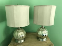 Two Silver mercury glass lamps with silver/gray shade.   147 km