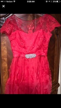 Women's red floral illusion cap sleeve dress Stratford, 06614