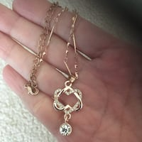 New CZ double heart rose gold necklace  Palatine
