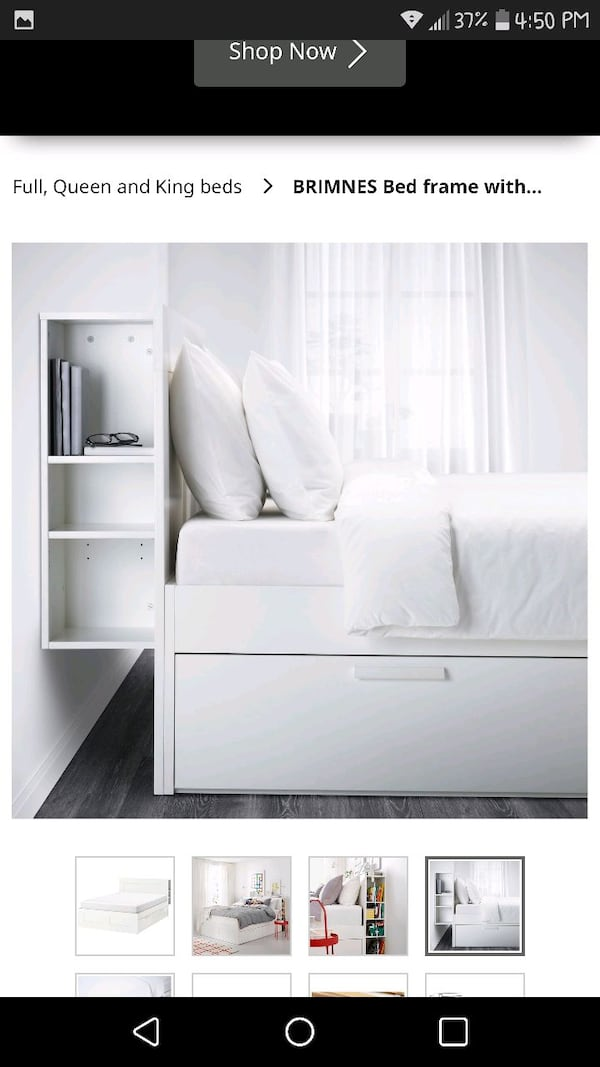 Ikea Brimnes Queen BedFrame 4 Drawers Headboard 2