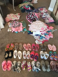18 pairs of shoes, 20 headbands, bag socks & bibs 3-18 month cloths Palm Harbor, 34683
