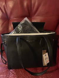 black and gray leather tote bag Las Vegas, 89123