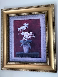 white petaled flower painting with brown wooden frame Chesapeake, 23322