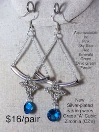 """New Earrings w/Silver-plated earring wires Sky Blue Grade """"A""""  (CZ's) Chesapeake, 23320"""