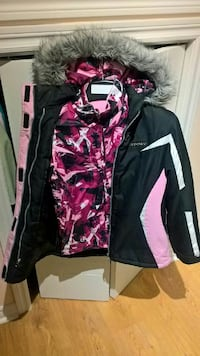 black, white, and pink zip-up parka Dollard-des-Ormeaux