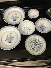 white and blue ceramic plates