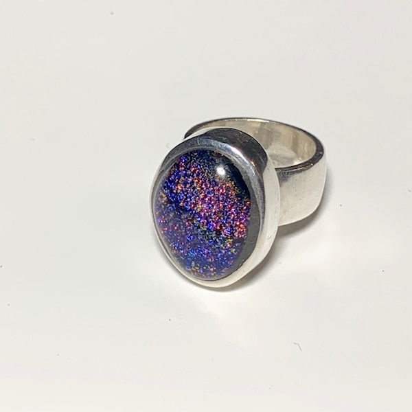 Vintage Sterling Silver Dichroic Glass Ring 2