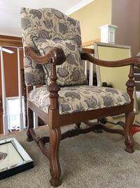 Brown wooden framed floral padded armchair pair Crestwood, 40014
