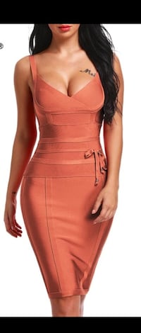 women's brown sleeveless midi dress