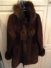 Women 100% Genuine Sheepskin Coat With Fur Collar & Hood 562 km