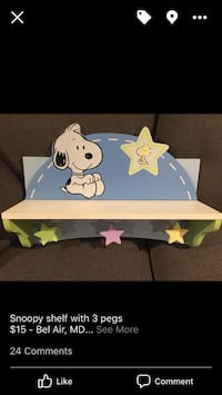 White and teal snoopy printed wooden wall rack screenshot Bel Air