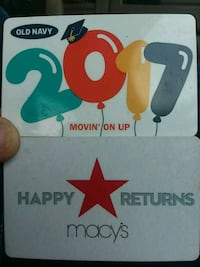 Old Navy 2017 and Macy's Happy Returns gift cards Lubbock, 79416