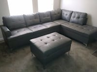 BRAND NEW LEATHER GREY SECTIONAL