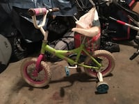 Toddler's green and white bicycle with training wheels Coquitlam, V3K 1J6