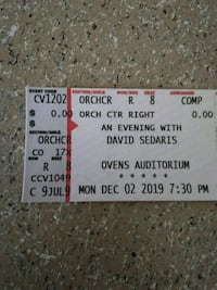 David Sedaris, an Evening with...Ovens Auditorium, 2DEC19,730pm