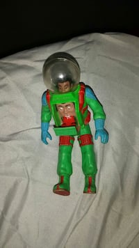 man with green and red astronaut suit