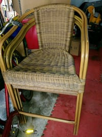 3 Patio brown metal framed high armchair