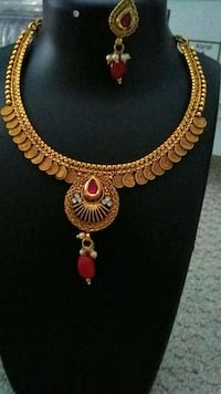 Gold coins red necklace and earrings set Aldie, 20105