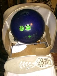 Bowling ball, shoes,and bag