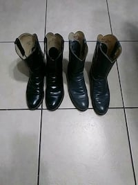 three pairs of black and brown leather boots San Antonio, 78221
