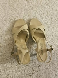 pair of beige open-toe ankle strap sandals Falls Church, 22043
