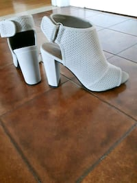 pair of white leather peep-toe heeled sandals Montréal, H8T 3G5