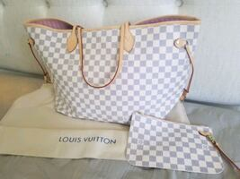 LV Damier Azur Neo Neverfull MM Rose Ba