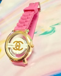 Pink and gold Chanel watch